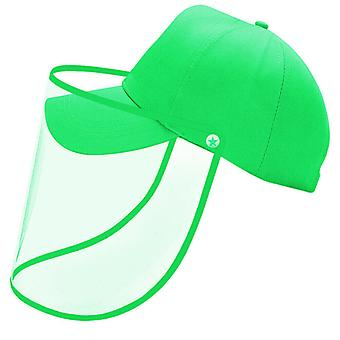 Green Unisex Anti-saliva Protective Baseball Hat Cap and Face Shield Transparent Cover