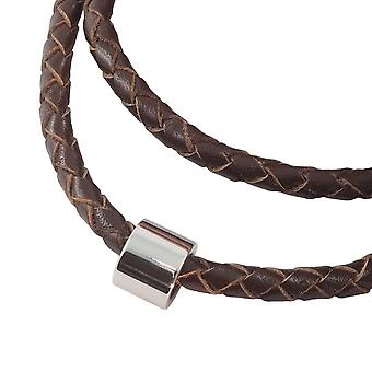 Lederkette geflochten Leder-Band Halskette mit Anhänger Damen Kette 4 mm Braun