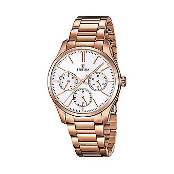 Festina F16816/1 Ladies White Dial Multi-Function Watch - Rose Gold
