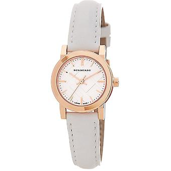 Burberry BU9209 Rose Gold Tone White Leather Ladies Watch