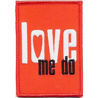 The Beatles Patch Love Me Do Logo new Official Red Woven Iron on (10cm x 5 cm)