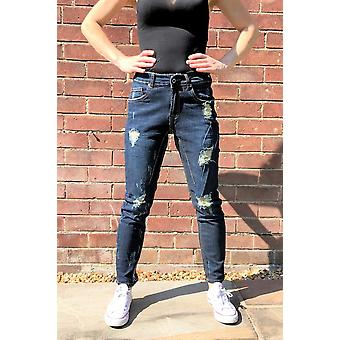 Slim Ripped Distressed Frayed Jeans Cropped Short Leg