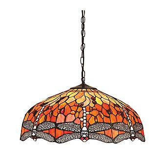 Hanging Lamp 50 Cm Dragonfly Flame, Glass And Metal