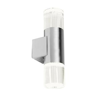 Grant Wall Lamp, Stainless Steel And Glass, 2 Bulbs