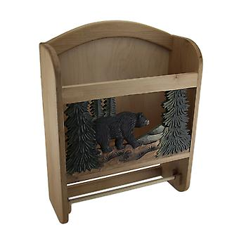 Bear in the Woods Hand Crafted Wooden Paper and Towel Holder w/Storage