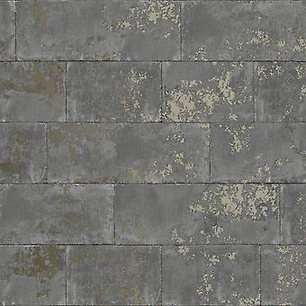 Metalliskt tegel Tapet Charcoal Rasch 248685