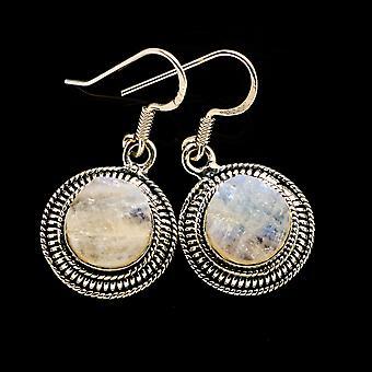 "Karkea Rainbow Moonstone korvakorut 1 1/4"" (925 Sterling Silver) - Käsintehty Boho Vintage korut EARR402716"