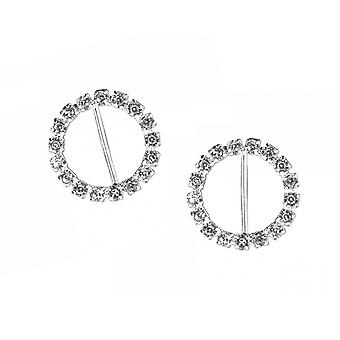 2 Silver 20mm Round Diamante Buckles for Wedding Floristry & Papercrafts