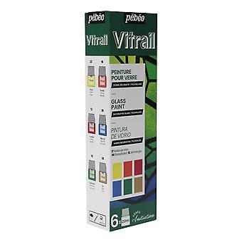Pebeo Vitrail Conjunto de iniciação da tinta de vidro 6 x 20ml