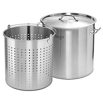 SOGA 98L 18/10 Stainless Steel Stockpot with Perforated Stock pot Basket Pasta Strainer