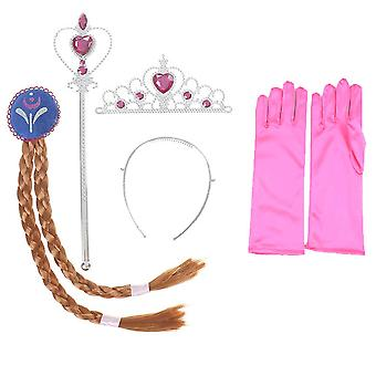 4pc Girls Frozen Elsa Princess Hairpiece Crown Wand & Gloves Costume Accessories
