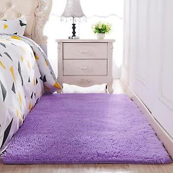 Solid Color Thickened Washed Silk Hair Non Slip Carpet - Living Room Coffee Table Blanket Bedroom Bedside Mat
