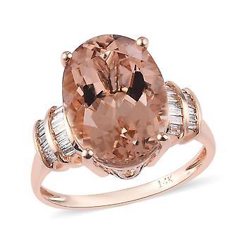 Morganite 14ct Rose Guld Kabale Ring for Kvinder Hvid Diamond , 6 Ct TJC