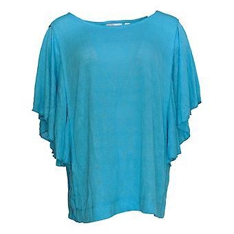 Belle by Kim Gravel Women's Plus Sweater Slub Butterfly Blue A375869