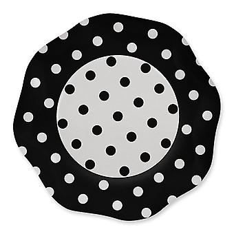 Czarne kropki 27cm w kształcie papieru Talerze party