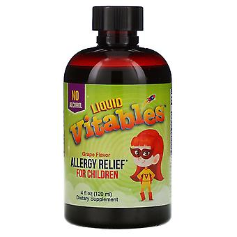 Vitables, Liquid Allergy Relief For Children, No Alcohol, Grape Flavor, 4 fl oz