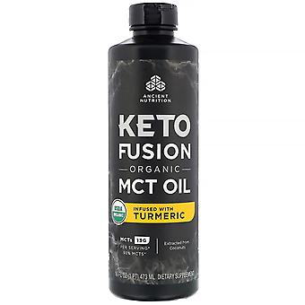Dr. Axe / Ancient Nutrition, Keto Fusion Organic MCT Oil, Infused with Turmeric,