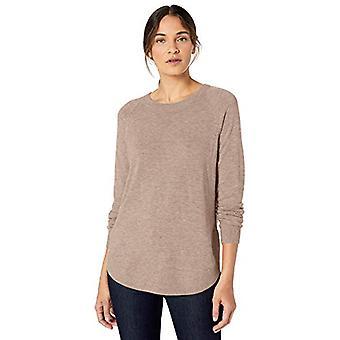 Brand - Lark & Ro Women's Crew Neck Shirttail Hem Sweater, Dark Oatmea...
