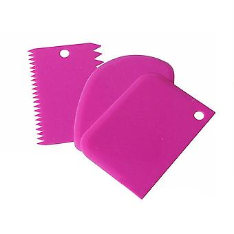 Toothed Plastic Cake Cream Scraper Three Piece Set Rose Red