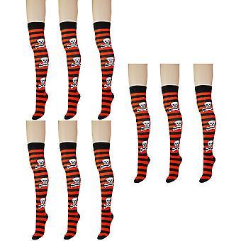 Women's Gothic Skull dikke streep over de knie hoge kostuum sokken 4-6 UK
