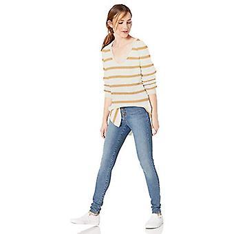 Marke - Goodthreads Frauen's Baumwolle Shaker Stich tief V-Ausschnitt Pullover, Haferflocken/Gold Streifen, Medium