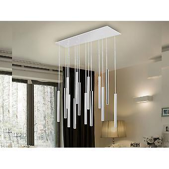 Zintegrowany LED 14 Light Cluster Drop Bar Wisiorek sufitowy Matt White, Chrom