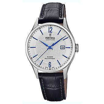 Festina swiss made watch for Analog Quartz Men with Cowhide Bracelet F20007/2