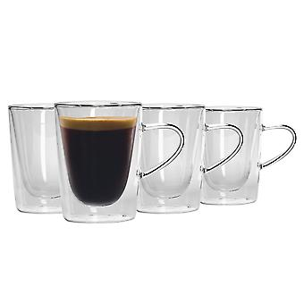 Set de taza de café de té de doble pared de 6 piezas - vidrios de café con aislamiento de pared doble con asas - 285ml