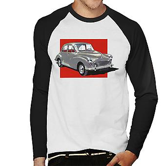 Morris Minor Red Background British Motor Heritage Men's Baseball Long Sleeved T-Shirt