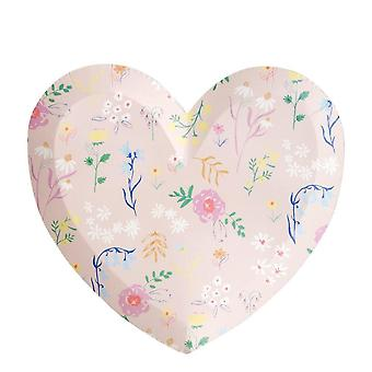 Meri Meri Wildflower Heart Large Party Plates X 12