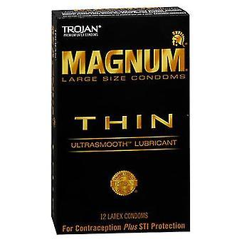 Trojan Magnum Thin UltraSmooth Smörjmedel Premium Latex Kondomer, 12 vardera