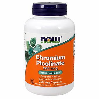 الآن الأطعمة الكروم بيكوليناتي، 200 ميكروغرام، 250 قبعات