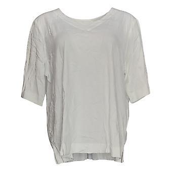 Martha Stewart Women's Top Elbow-Sleeve V-Neck Tunic White A353793