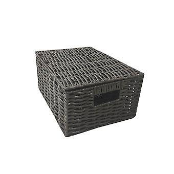 Wicker storage basket, bathroom living room kitchen with lining and durable storage box with lid