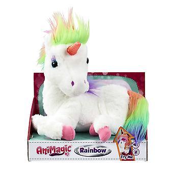 Arco-íris animado - meu unicórnio brilhante, um brinquedo de pelúcia de unicórnio macio com chifre brilhante e sons de unicórnio
