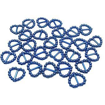 الأزرق لؤلؤة القلب على شكل الشريط الشريط المنزلق الأبازيم. حزمة من 50 حبات
