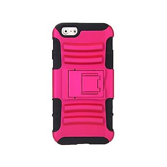 For iPhone 6 4.7'' Dual Layer Silicone & PC Back Case Protective Shell Cover with Stand Rose