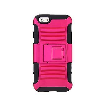 For iPhone 6 4.7'' Dual Layer Silikon & PC Tilbake tilfelle Beskyttende Shell Cover med Stativ Rose