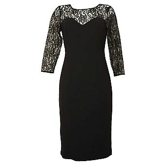 Michaela Louisa Classic Little Black Dress With Lace Detail & Long Sleeves