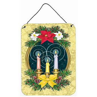 Pyhän yön joulukynttiläseppeleen seinä tai oven ripustusjälket