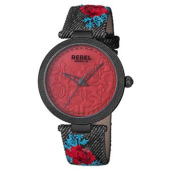Rebel Women's Carroll Gardens Burgundy Dial Cloth Watch