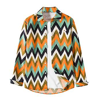 YANGFAN Men's Striped Color Block Shirt