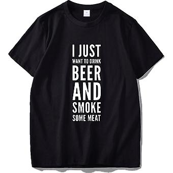 Mens Drink Beer Smoke Meat T Shirt Humor Funny Short Sleeve Cotton Tee