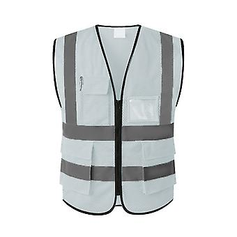 YANGFAN Men's Reflective V-neck Vest with Multiple Pockets