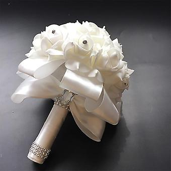 Bridal Wedding Bouquet With Pearl Beaded Romantic Foam Flowers Flowers Satin