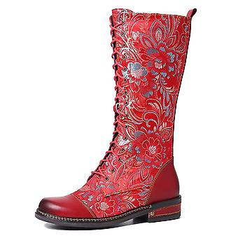 Flowers Pattern Colorful Stitching Elegant Zipper Lace Up Flat Mid Calf Boots