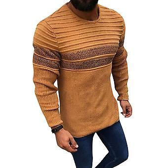 Men's Round Neck Striped Loose Fit Casual Sweater