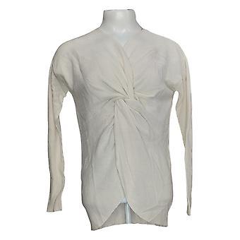 Laurie Felt Women's Sweater Twist Front Cashmere Blend Ivory A346616