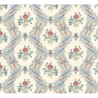 Dolls House Ogee Lace Cream Rose Miniature Print Wallpaper 3 Folhas