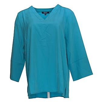 Kelly by Clinton Kelly Women's Top Relaxed V-Neck Blouse Blue A276353